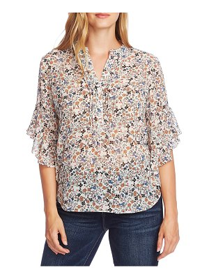 Vince Camuto calico flutter sleeve top