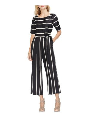 Vince Camuto dramatic stripe belted jumpsuit