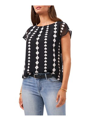 Vince Camuto embroidered geo pattern chiffon blouse