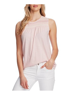 Vince Camuto embroidered yoke sleeveless cotton blend top