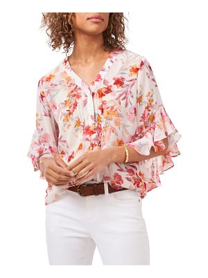 Vince Camuto floral flutter sleeve chiffon blouse