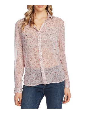 Vince Camuto floral layers roll tab sleeve blouse