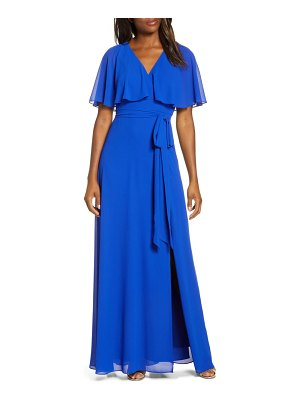 Vince Camuto flutter overlay chiffon gown