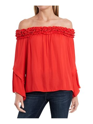 Vince Camuto off the shoulder bell sleeve rumple blouse
