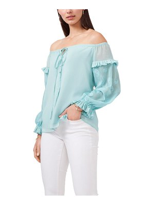 Vince Camuto off the shoulder embroidered sheer sleeve blouse