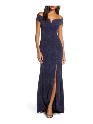 Vince Camuto off the shoulder metallic gown