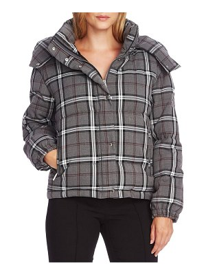 Vince Camuto plaid hooded puffer jacket