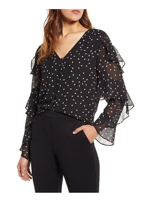 Vince Camuto polka dot tiered sleeve blouse