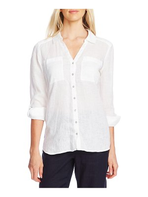 Vince Camuto roll tab long sleeve linen blouse
