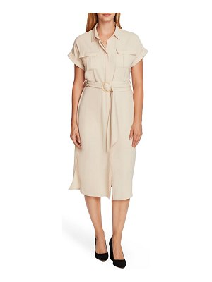 Vince Camuto rumple twill belted midi dress