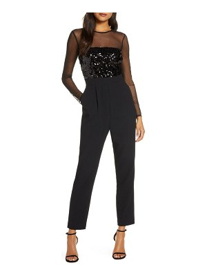 Vince Camuto sequin bodice long sleeve jumpsuit