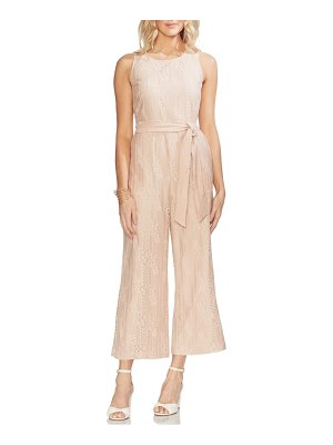 Vince Camuto stripe lace belted jumpsuit