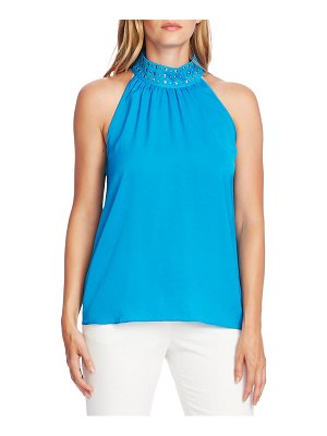 Vince Camuto stud detail mock neck sleeveless blouse