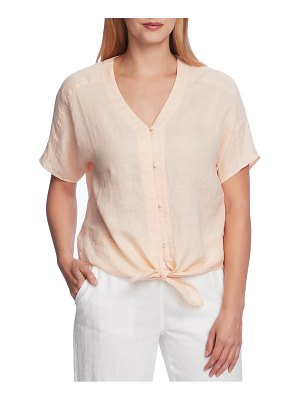 Vince Camuto tie front button-up linen top