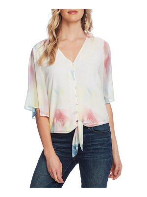 Vince Camuto watercolor tie front bell sleeve chiffon top