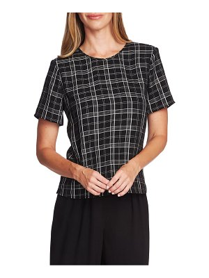 Vince Camuto windowpane plaid short sleeve top