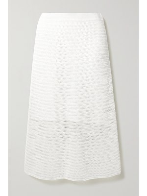Vince crocheted cotton-blend midi skirt