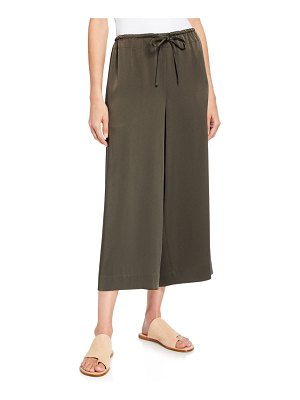 Vince Cropped Satin Drawstring Culottes