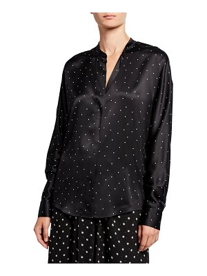 Vince Dot-Print Long-Sleeve Silk Popover Top