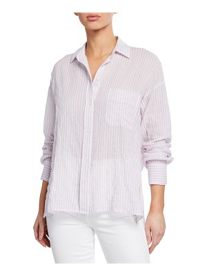 Vince Double Bar Stripe Button-Down Long-Sleeve Boxy Shirt