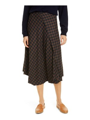 Vince drape front check plaid skirt