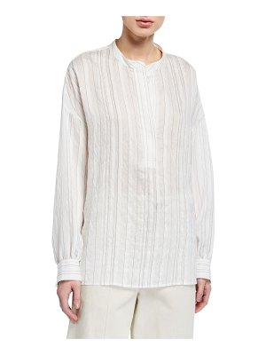 Vince Drapey Striped Pullover Blouse