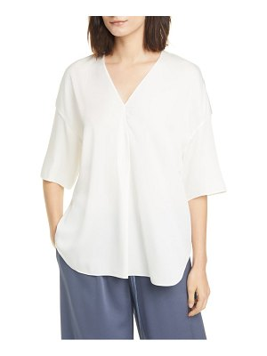 Vince elbow sleeve stretch silk popover top