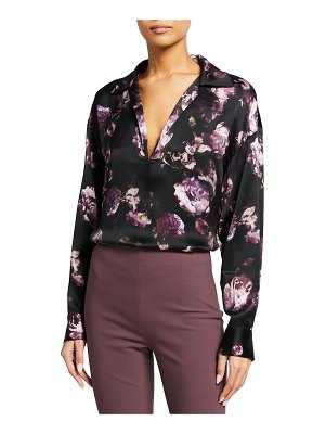 Vince Floral-Print Collared Popover Blouse