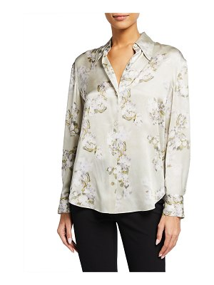 Vince Hazy Blossom Silk Collared Blouse
