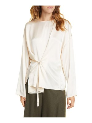 Vince knot front long sleeve silk blouse