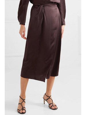 Vince knotted wrap-effect silk-satin midi skirt