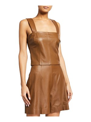 Vince Leather Square-Neck Tank