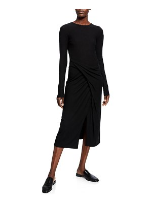 Vince Long-Sleeve Draped Midi Dress