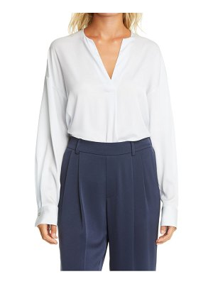 Vince long sleeve stretch silk popover blouse