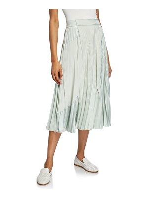 Vince Mixed-Media Pleated Midi Skirt