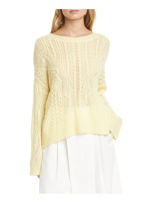 Vince open cable knit wool & cashmere blend sweater