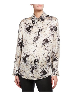 Vince Painted Crema Shaped Collar Silk Blouse
