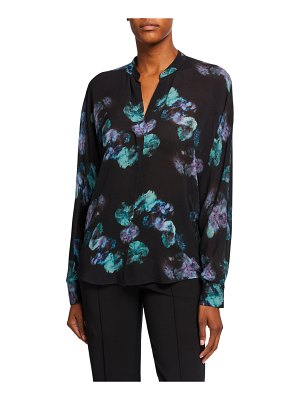 Vince Painted Floral Button-Front Long-Sleeve Silk Blouse