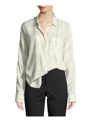 Vince Plaid Long-Sleeve Popover Blouse