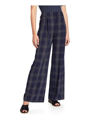 Vince Plaid Wide-Leg Pants