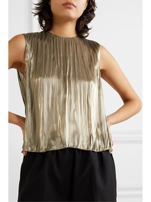 Vince pleated lamé top