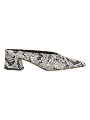Vince ralston snake print leather point toe mules