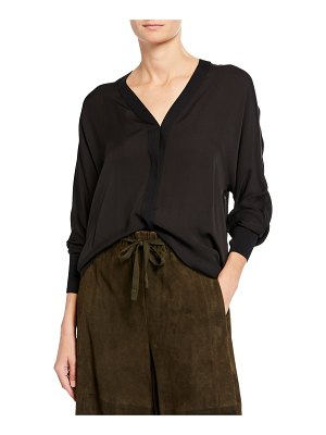Vince Rib-Trim Silk V-Neck Shirt