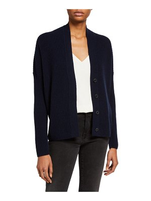 Vince Ribbed Button-Front Wool-Blend Cardigan