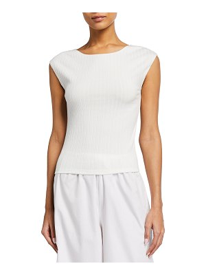 Vince Ribbed Cap-Sleeve Boat-Neck Top