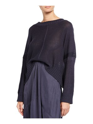 Vince Seamed Cotton Poncho Sweater