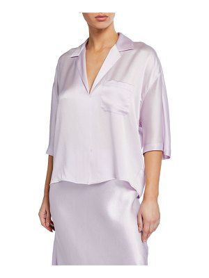 Vince Short-Sleeve Satin PJ Shirt