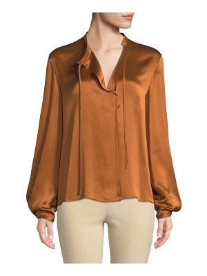 Vince Silk Tie-Neck Long-Sleeve Popover Blouse