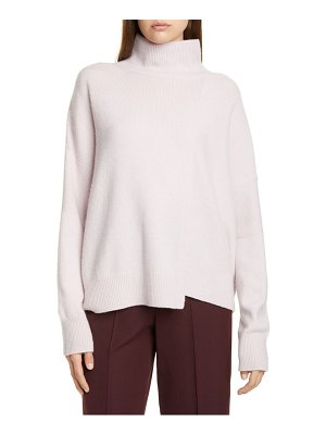 Vince stepped hem wool & cashmere turtleneck sweater