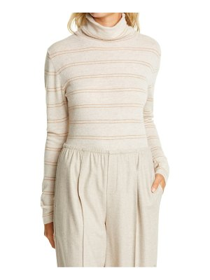 Vince stripe fitted cashmere turtleneck sweater
